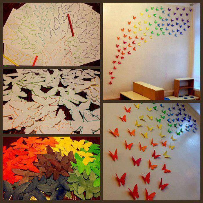 Mariposas y flores para decorar la sala en primavera - Mariposas en la pared ...