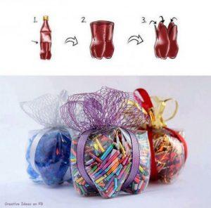 Cajas con botellas recicladas (2)