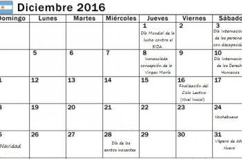 Calendario escolar de Diciembre con efemérides